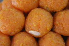 Indiański cukierki Motichoor ladoo lub laddu Zdjęcie Royalty Free