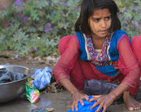 Indiański dziewczyny domycie Odziewa Zdjęcie Stock