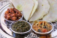 Indiański jedzenie, Masala Dosa z Sambar i Channa Masala, Zdjęcie Royalty Free