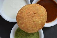 Indiański kachori z chutney Zdjęcie Stock