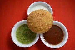 Indiański kachori z chutneys Obraz Stock