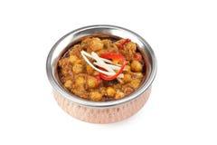 Indiański Karmowy Chickpea curry Channa Masala Na bielu Obrazy Stock