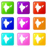 Indiański map ikon 9 set ilustracji