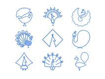 Indiański Pawi ikona set Zdjęcia Royalty Free