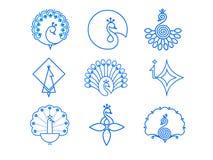 Indiański Pawi ikona set Obrazy Royalty Free