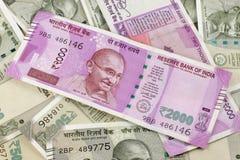 Indiańskiej waluty Nowe notatki Zdjęcia Royalty Free
