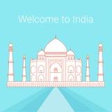 India skyline. Line illustration of Taj Mahal. Royalty Free Stock Photos