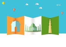India skyline, taj mahal india gate kutub minar  Travel and tourism background Stock Images