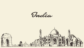India skyline vector illustration drawn sketch Stock Image