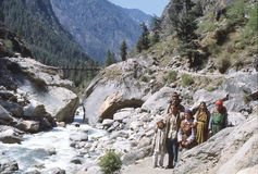 1977. India. A small group of pilgrims on their way to Manikaran. Royalty Free Stock Images