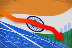 India solar energy power lowering chart, arrow down - environmental natural energy industrial illustration. 3D Illustration. India solar energy power lowering royalty free illustration