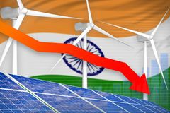 India solar and wind energy lowering chart, arrow down - modern natural energy industrial illustration. 3D Illustration. India solar and wind energy lowering stock illustration
