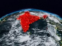 India at night. India from space at night on Earth with visible country borders. 3D illustration. Elements of this image furnished by NASA stock illustration