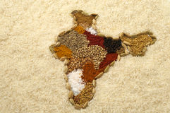 India spice map surronded by white rice Royalty Free Stock Photo