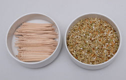 INDIA SPICES AND WOODEN STICKS Stock Photo