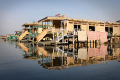 India: Srinagar and hotel boats Royalty Free Stock Photos