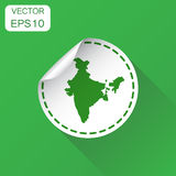 India sticker map icon. Business concept India label pictogram. Stock Images
