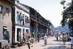 1977 India Straatscène in Bombay van de binnenstad Stock Afbeeldingen