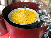 India-Street food. A food stall serving spicy foodstuff on indian streets Royalty Free Stock Images