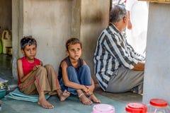 India street scene. Mandawa India June 2014: street scene with sad children Royalty Free Stock Image