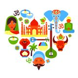 India symbols heart. India travel culture religion symbols in heart shape vector illustration Royalty Free Stock Photos