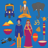 India symbols set. Hinduism design elements. South Asia beautiful woman and man wearing indian traditional cloth. Vedic cuisine, s. Et of vegetarian healthy food Stock Photos