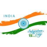 India Szczęśliwy dzień niepodległości, august 15 kartka z pozdrowieniami z indyjskim flaga państowowa muśnięcia uderzeniem i ręki Obrazy Royalty Free