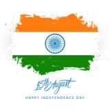 India Szczęśliwy dzień niepodległości, 15 august kartka z pozdrowieniami z szczotkarskim uderzeniem w indyjskiej flaga państowowa Fotografia Stock
