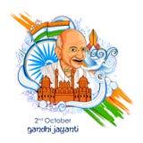 India tło dla 2nd Października Gandhi Jayanti Urodzinowego świętowania Mahatma Gandhi royalty ilustracja