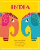 India - tło z wzorzystymi słoniami royalty ilustracja