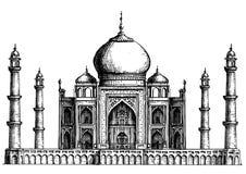 india Taj Mahal på en vit bakgrund skissa stock illustrationer