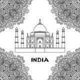 India Taj Mahal. India pattern with Taj Mahal on floral mandala frame. Black and white coloring page stock illustration