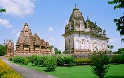India, Tempels in Khajuraho. Stock Foto's