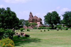 India, Tempels in Khajuraho. Stock Afbeelding