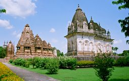 India, Temples in Khajuraho. Stock Photos