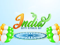 India Text with Balloons for Republic Day. 3D Text India with National Flag Colours Balloons for Indian Republic Day celebration Stock Images