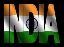 India text with Indian flag Royalty Free Stock Photos