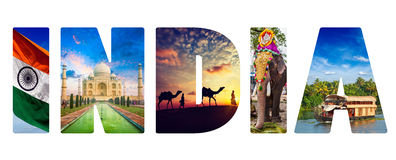 India text with indian images Royalty Free Stock Images