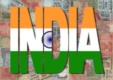 India text with Indian Rupees Stock Photo