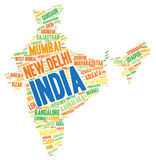 India top travel destinations word cloud Royalty Free Stock Images