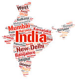 India top travel destinations word cloud Stock Images