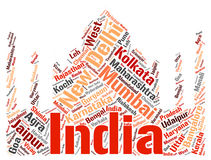 India top travel destinations word cloud Stock Photo