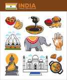 India tourism travel famous landmark symbols and Indian culture vector tourist attractions Royalty Free Stock Images