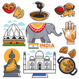 India tourism travel and Indian culture attractions vector symbols set Royalty Free Stock Photo