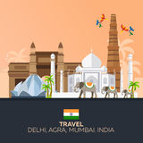 India. Tourism. Travelling illustration Indian. Modern flat design. Indian elephant. Taj mahal, Lotus temple, gateway of India, Qu Royalty Free Stock Image