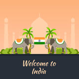 India. Tourism. Travelling illustration Indian. Modern flat design. Indian elephant. Taj mahal, Lotus temple, gateway of India, Qu Royalty Free Stock Images