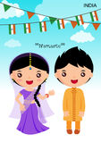 India traditional costume. Asian, character boy girl Royalty Free Stock Images