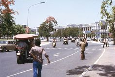 1977. India. Traffic at Connaught Place. The photo shows, the traffic at Connaught Place in the center of New Delhi Stock Image