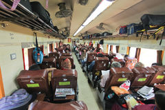 India train. KARNATAKA – JANUARY 30 : Passanger train carriage on the way to Chennai on January 30, 2011. Indian railway is  world's second largest Royalty Free Stock Photos