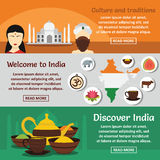 India travel banner horizontal set, flat style Stock Photos